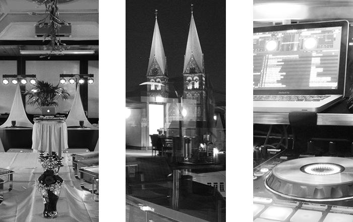Der Hochzeits Dj aus Bremen, Eine Collage aus diversen Hochzeiten / Im Grothenns, Blick auf den Dom, Bild von der Technik